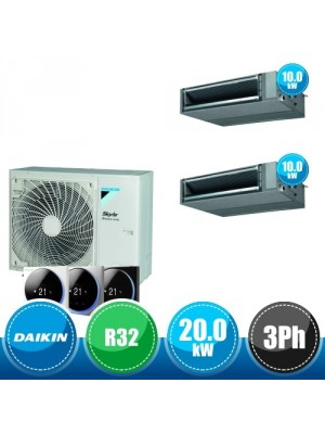 DAIKIN RZA200D + 2 x FBA100A Kit Sky Air Advance Package Twin Compatto R32 con 2 Canalizzate DC Inverter a Media Prevalenza - 20.0 kW Trifase
