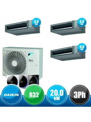 DAIKIN RZA200D + 3 x FBA60A Kit Sky Air Advance Package Triple Compatto R32 con 3 Canalizzate DC Inverter a Media Prevalenza - 20.0 kW Trifase