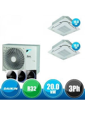DAIKIN RZA200D + 2 x FCAG100B Kit Sky Air Advance Package Twin Compatto R32 con 2 Cassette da Incasso Round Flow - 20.0 kW Trifase