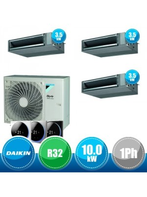 DAIKIN RZAG100NV1 + FBA35A(x3) Kit Sky Air Alpha Triple Compatto R32 con 3 Canalizzate DC Inverter a Media Prevalenza  - 10.0 kW Monofase