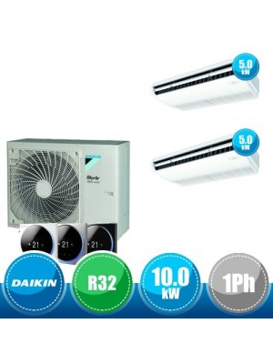 DAIKIN RZAG100NV1 + FHA50A(x2) Kit Sky Air Alpha Twin Compatto R32 con 2 Unità Pensili a Soffitto  - 10.0 kW Monofase