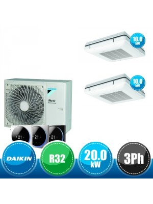 DAIKIN RZA200D + 2 x FUA100A Kit Sky Air Advance Package Twin Compatto R32 con 2 Cassette Pensili a Soffitto - 20.0 kW Trifase
