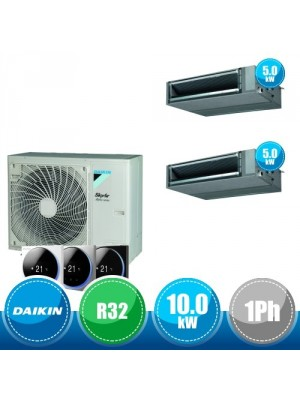 DAIKIN RZAG100NV1 + FBA50A(x2) Kit Sky Air Alpha Twin Compatto R32 con 2 Canalizzate DC Inverter a Media Prevalenza  - 10.0 kW Monofase