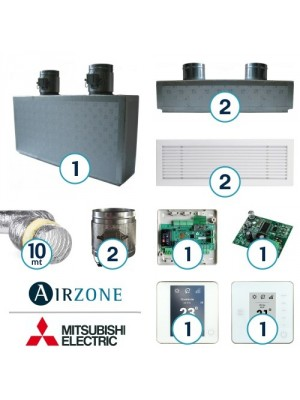 AIRZONE Complete System for Zone Management with Mitsubishi Electric Ducted System - 2 Environments
