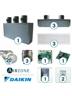 AIRZONE Complete System for Zone Management with Residential Daikin Ductable System - 3 Environments