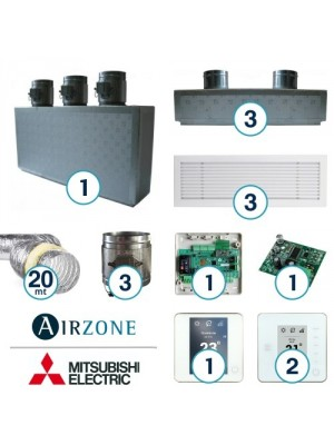 AIRZONE Complete System for Zone Management with Mitsubishi Electric Ducted System - 3 Environments