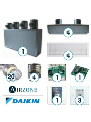 AIRZONE Complete System for Zone Management with Residential Daikin Ductable System - 4 Environments