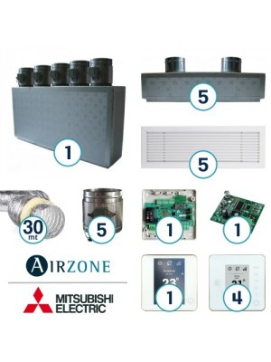 AIRZONE Complete System for Zone Management with Mitsubishi Electric Ducted System - 5 Environments