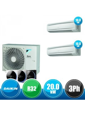DAIKIN RZA200D + 2 x FAA100A Sky Air Advance Package Twin Compact R32 Kit with 2 Wall-Mounted Units - 20.0 kW Three-Phase