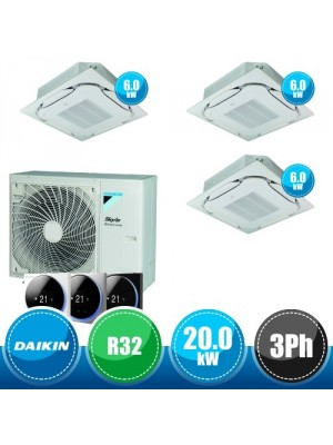 DAIKIN RZA200D + 3 x FCAG60B Sky Air Advance Package Triple Compact R32 Kit with 3 Round Flow Cassettes - 20.0 kW Three-Phase