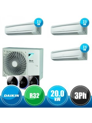 DAIKIN RZA200D + 3 x FAA71A Sky Air Advance Package Triple Compact R32 Kit with 3 Wall-Mounted Units - 20.0 kW Three-Phase